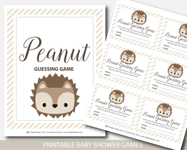 Hedgehog Peanut M&Ms baby shower guessing game, Hedgehog candy guessing game, Jelly bean game, Hedgehog baby shower, BH6-14