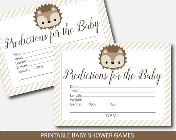 Hedgehog predictions for the baby with cards and sign, Woodland prediction baby cards, BH6-15