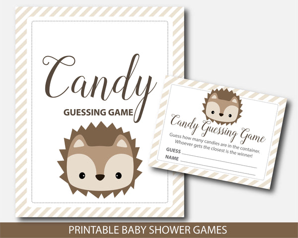 Hedgehog candy guessing game, M&Ms guessing game, Jelly bean game, Hedgehog baby shower, BH6-16