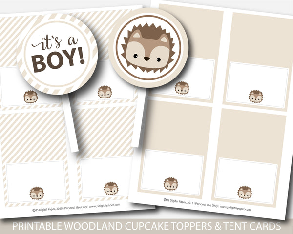Hedgehog baby shower cupcake toppers and buffet cards, Hedgehog theme baby shower, BH6-17