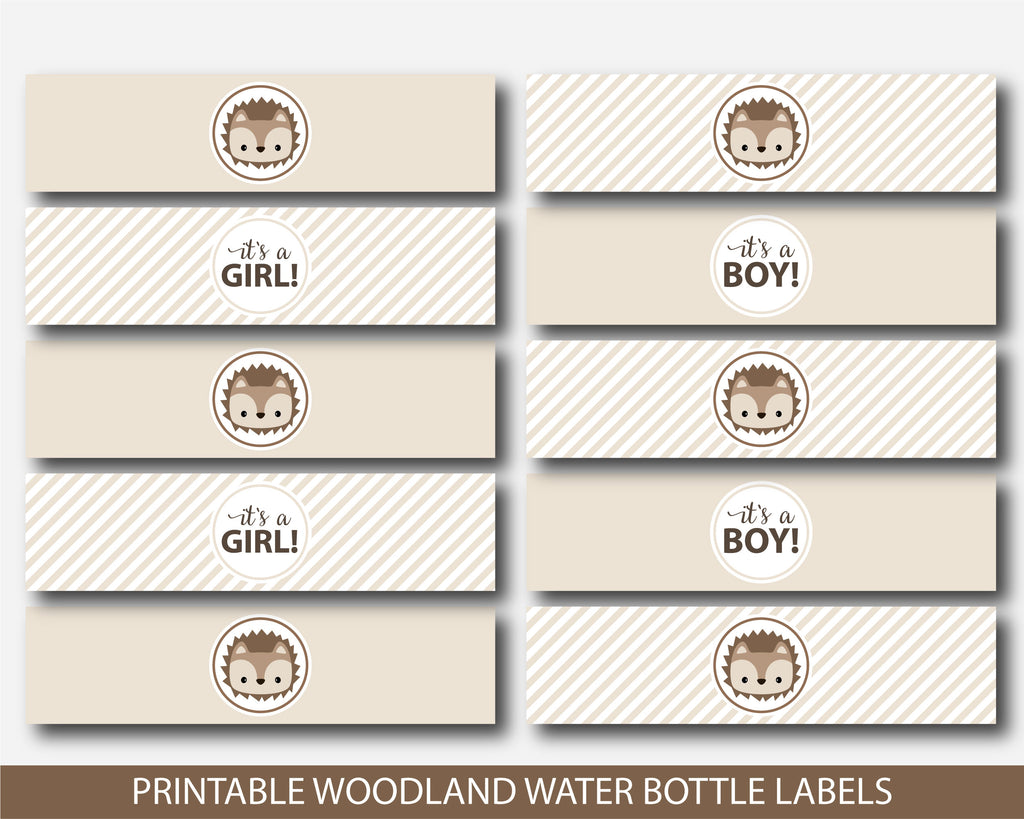 Hedgehog water bottle labels for hedgehog themed party, BH6-18