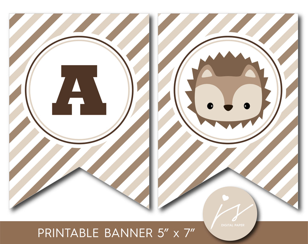 Hedgehog party banner, Hedgehog bunting and garland printable banner, BH6-19