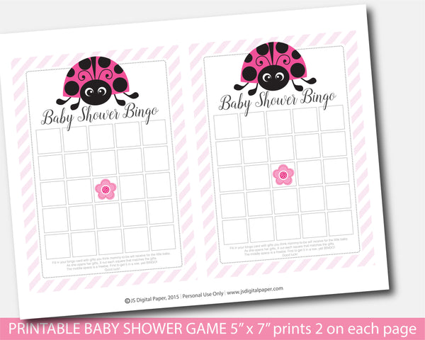 Ladybug bingo baby shower games, Spring bingo baby game, Ladybird blank bingo baby games, Instant download, BLB1-02