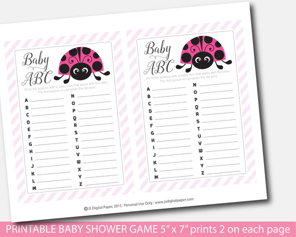 Ladybug ABC baby shower game, Spring ABCs baby game, Ladybird baby shower ABC game, Instant download, BLB1-04