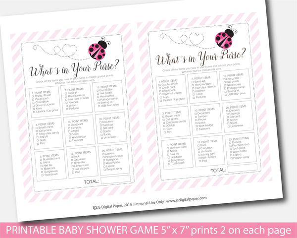 Ladybug what´s in your purse baby shower game, Spring baby shower purse game, Ladybird shower game, Instant download, BLB1-06