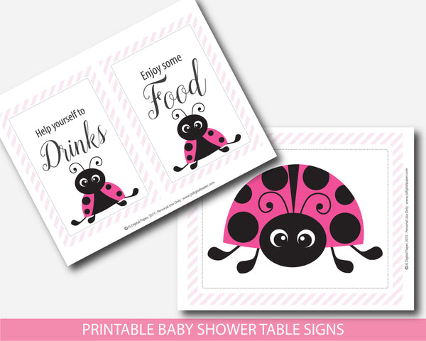 Ladybug table signs for baby shower, Spring lady bug decor table signs for boy baby shower, Instant download, BLB1-07
