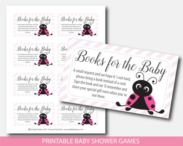 Ladybug bring a book instead of a card inserts, Spring baby shower books for the baby cards, Ladybug book request, BLB1-09