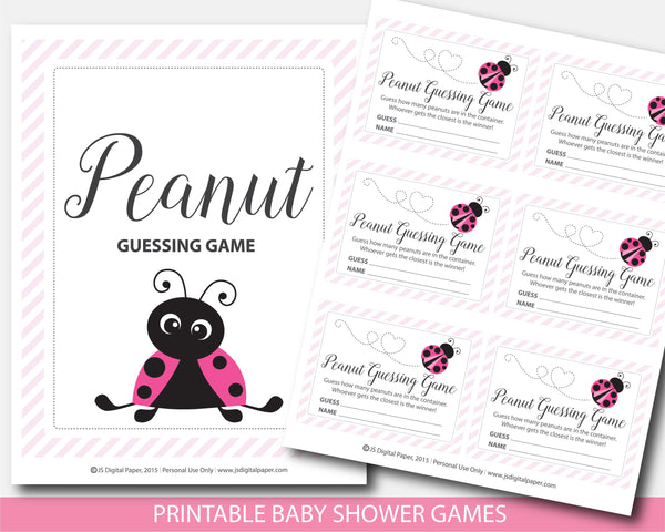 Ladybug peanut guessing game, Spring baby shower candy guessing game, Ladybug jelly bean game, Instant download, BLB1-14