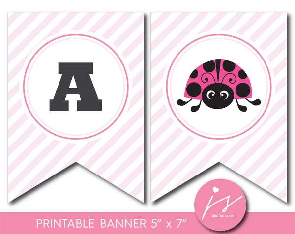 Ladybug banner, Baby shower and birthday spring bunting banner, Ladybird theme party, BLG1-20