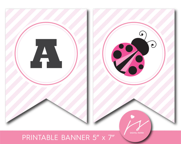 Ladybird baby shower and birthday printable banner, Ladybug party theme, BLB1-22