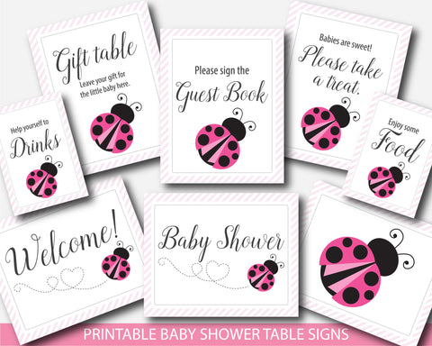 Pink ladybug table signs for baby shower, Pink spring lady bug decor table signs for girl baby shower, BLB2-07
