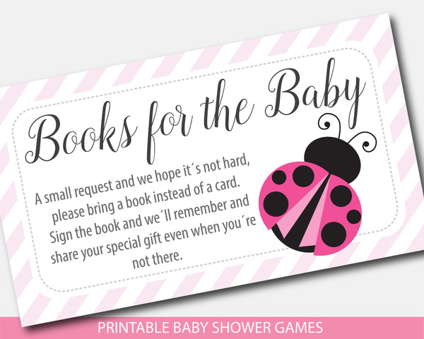 Pink ladybug bring a book instead of a card insert, Pink books for the baby cards, Pink ladybug book request, BLB2-09