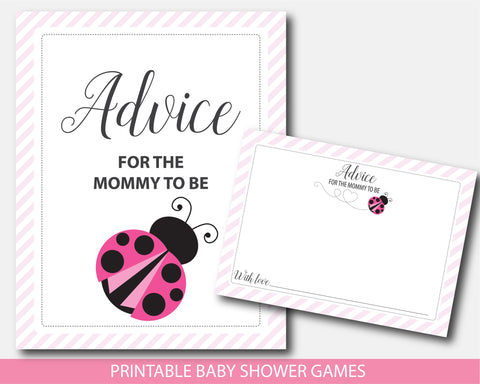 Pink ladybug advice for the mommy to be card and sign, Lady bug baby shower, BLB2-10