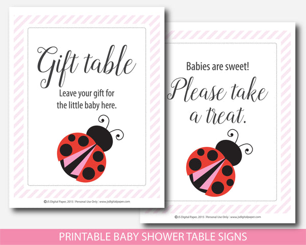 Red ladybug baby shower table signs, BLB4-07
