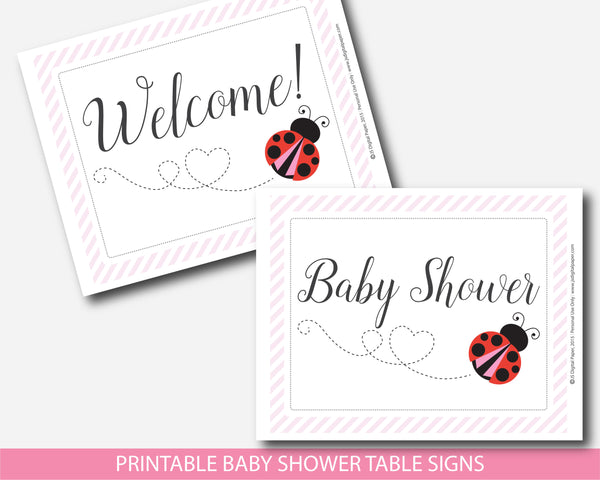 Red ladybug table signs for baby shower, Red spring lady bug decor table signs for girl baby shower, Instant download, BLB4-07