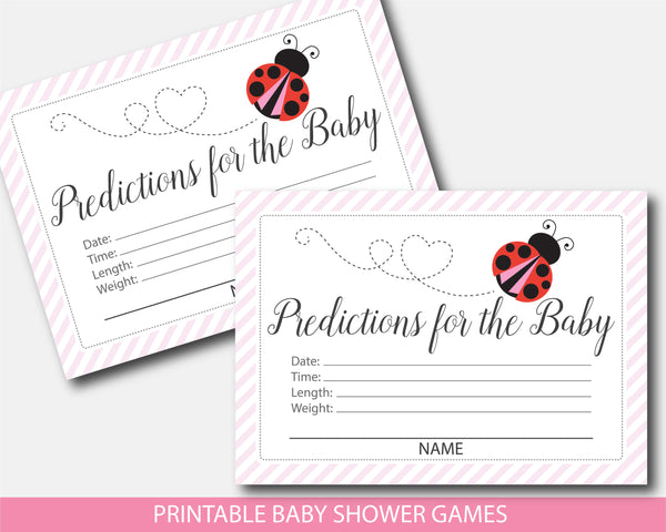 Red ladybug predictions for the baby with cards and sign, BLB4-15