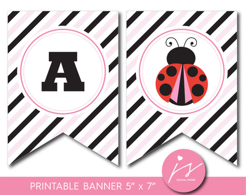 Baby pink and black ladybird baby shower party banner, Ladybug theme party, BLB4-21