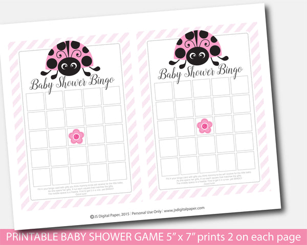 Baby shower blank bingo game in pink ladybug theme, BLB5-02