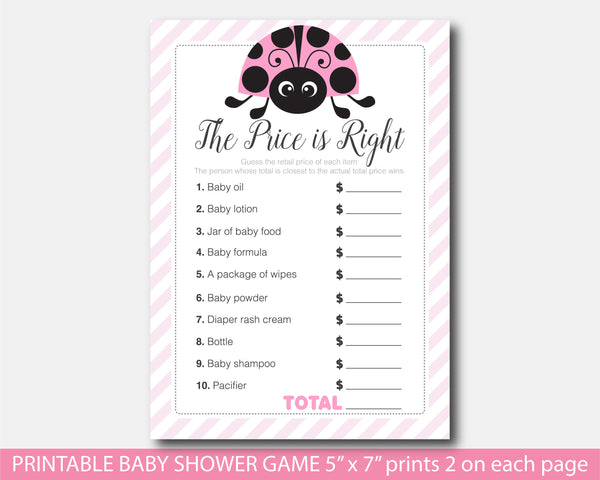 The price is right baby shower game with ladybug theme, BLB5-05