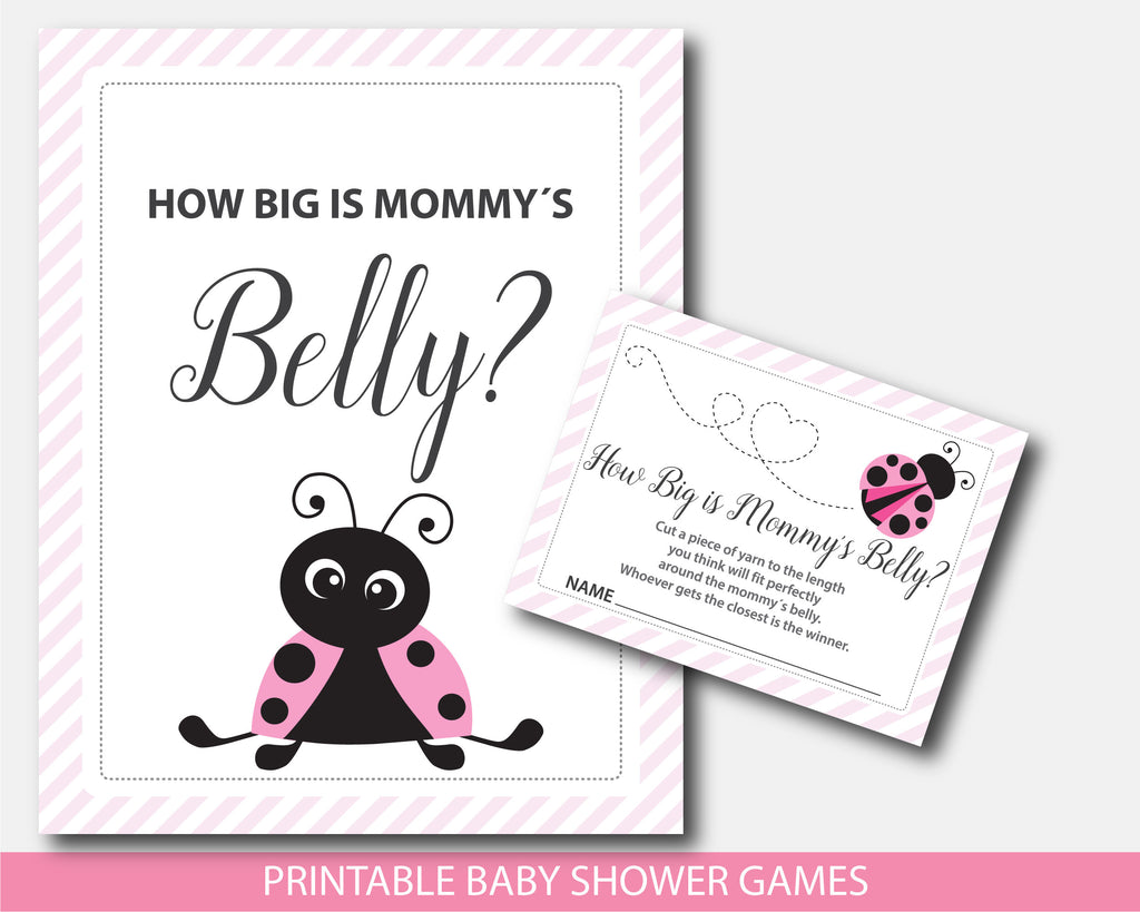 Baby shower belly game in pink ladybug theme, BLB5-12