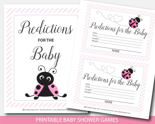 Baby shower ladybug predictions for the baby with cards and sign in pink, BLB5-15