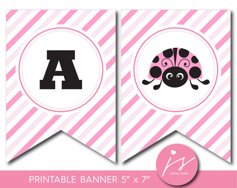 Printable baby shower and birthday banner with ladybug design, BLB5-19