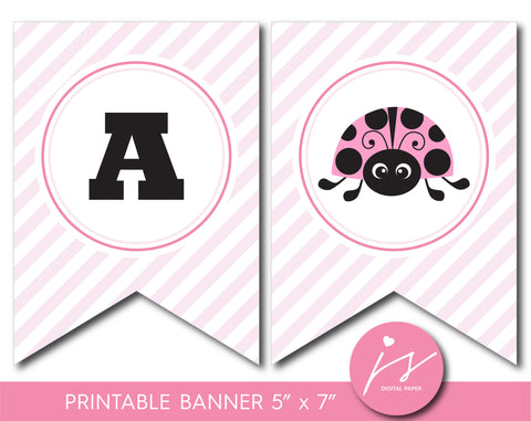 Baby shower banner with pink ladybug design, BLB5-20