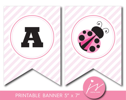 Baby pink ladybug printable party banner, BLB5-22