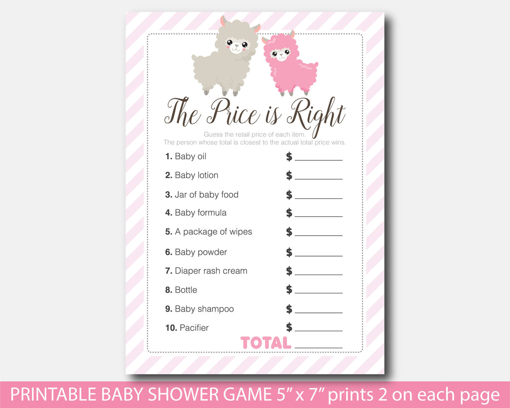 Llama the price is right game, Llama baby shower themed party, BLL1-05