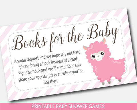 Llama Bring a book instead of a card baby shower inserts, BLL1-09