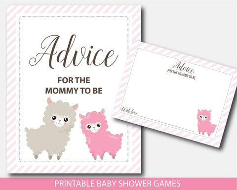 Llama baby shower advice for the mommy to be, sign and cards, Printable llama mama baby shower, BLL1-10