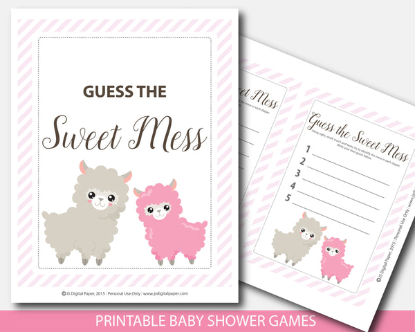 Llama guess the sweet mess printable baby shower game, BLL1-11