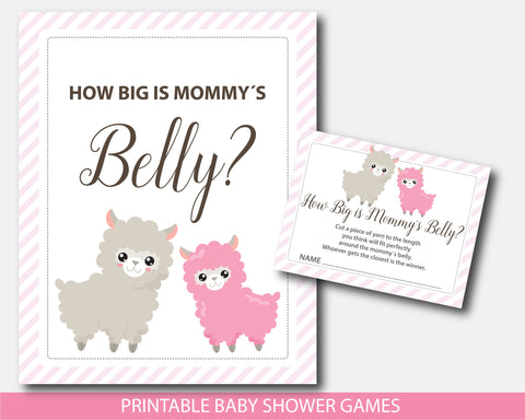 Llama baby shower belly game with cards and table sign, Belly guessing game, Moms belly game, BLL1-12