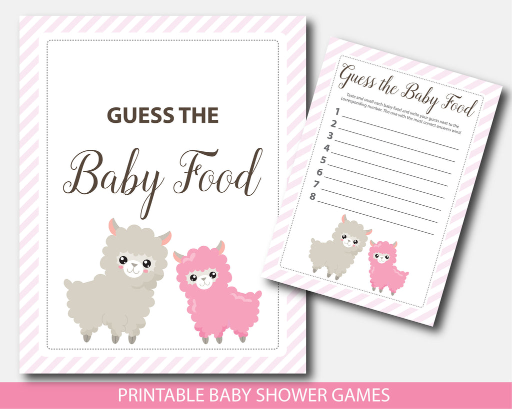Llama guess the baby food game, Llama baby shower theme, BLL1-13