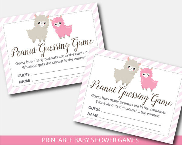Llama peanut guessing game, M&Ms guessing game, Jelly bean game, Llama baby shower, BLL1-14