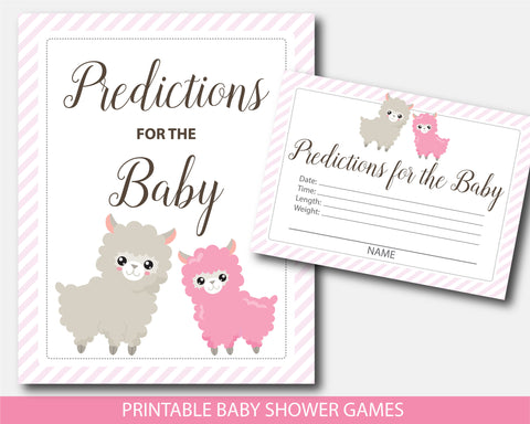 Llama predictions for the baby with cards and sign, Llama mama baby shower games, BLL1-15