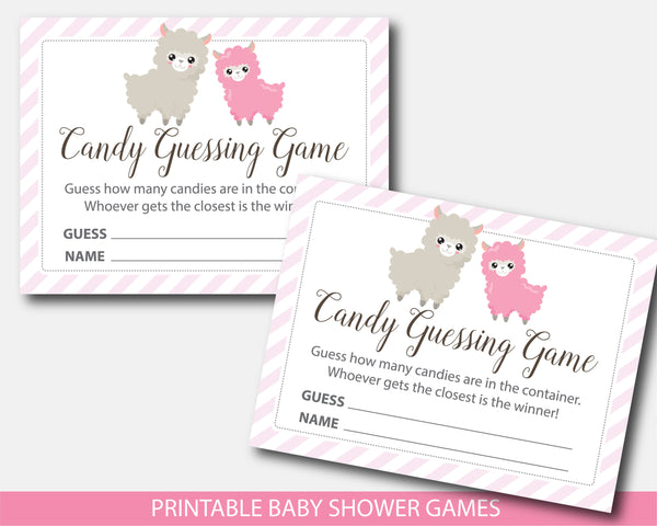 Llama candy guessing game, M&Ms guessing game, Jelly bean game, Llama baby shower, BLL1-16