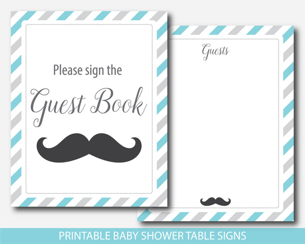 Mustache table signs, Mustache baby shower signs in turquoise & gray, Mustache decor and table signs, BM1-07
