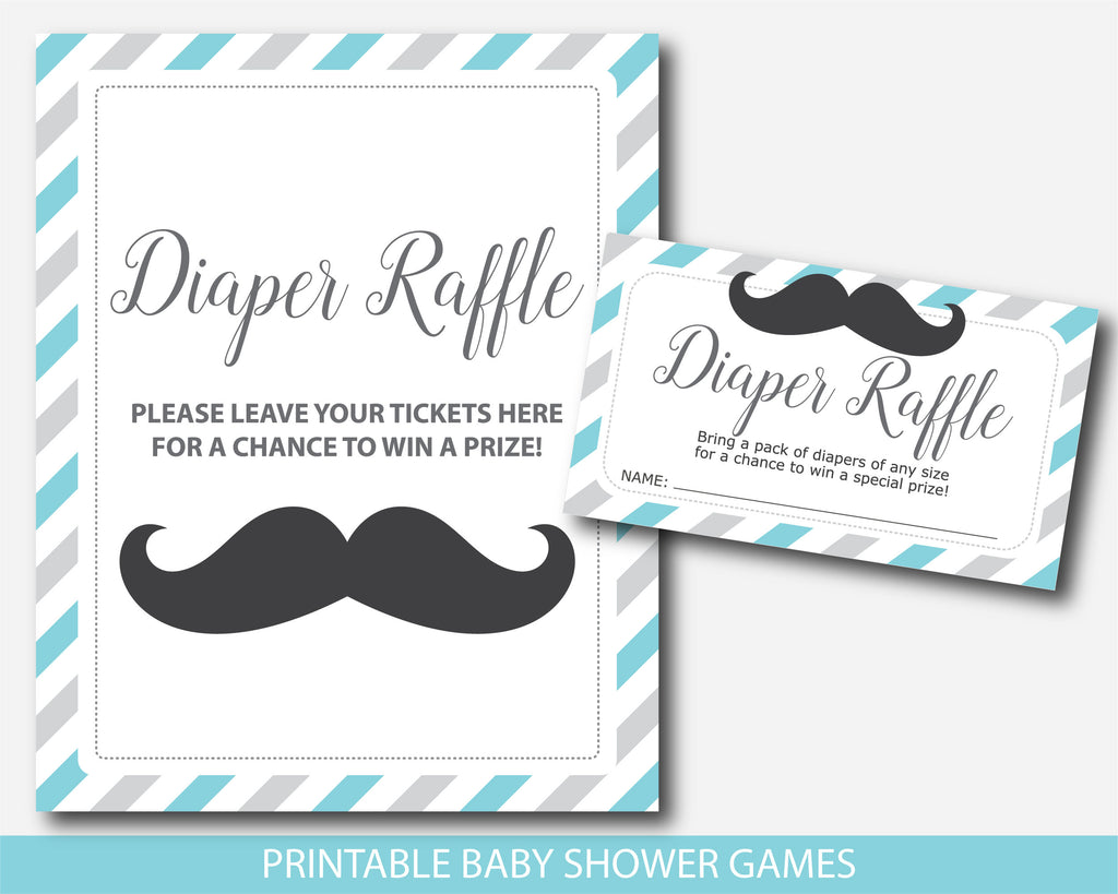 Mustache diaper raffle baby shower inserts in turquoise and grey, Stache raffle cards and sign, Printable mustache baby shower game, BM1-08