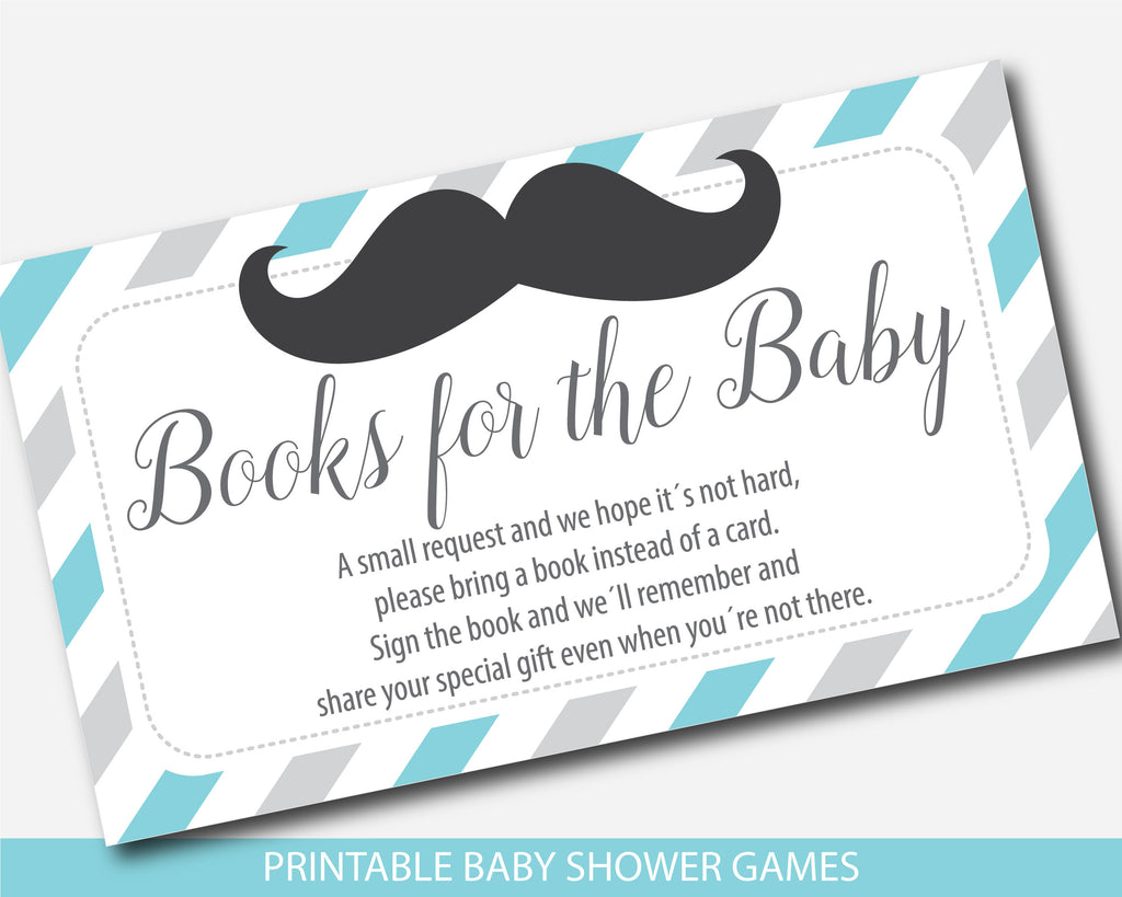 Mustache bring a book instead of a card inserts, Mustache baby shower books for the baby cards in turquoise and gray, Mustache book request, BM1-09