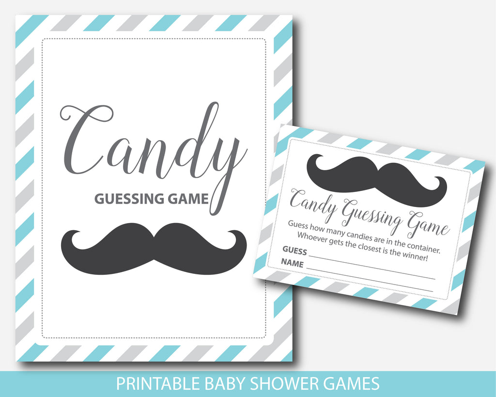 Mustache candy guessing game in turquoise and gray, Mustache peanut guessing game, Mustache jelly bean game, BM1-16