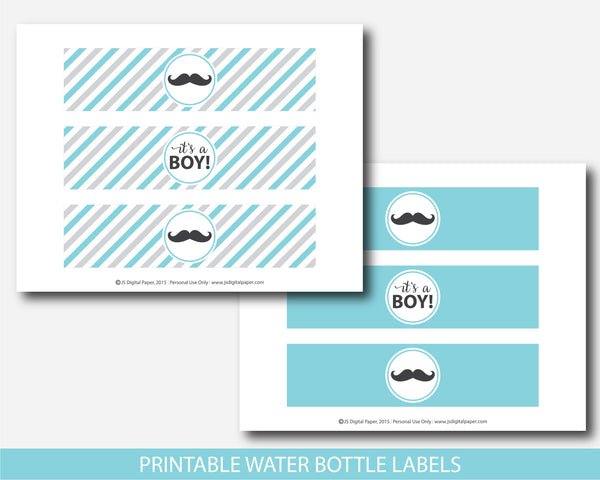 Mustache water bottle labels in turquoise and gray, Mustache baby shower drinking labels, Mustache water wrap labels, BM1-18