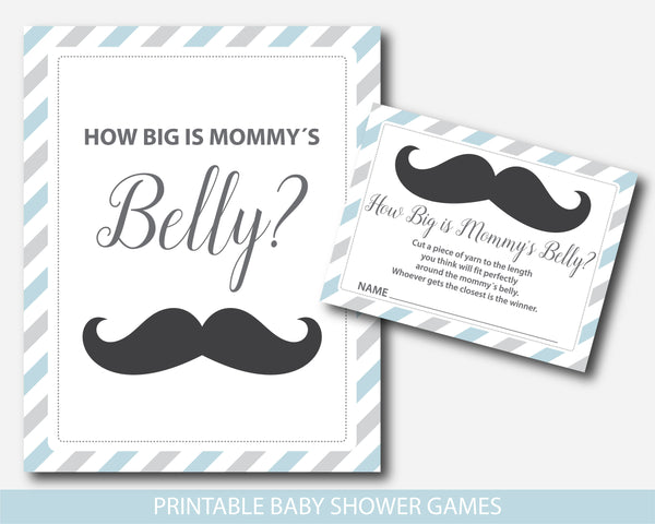 Little man belly game, Little man how big is mommy´s belly baby shower game in blue and gray, BM2-12