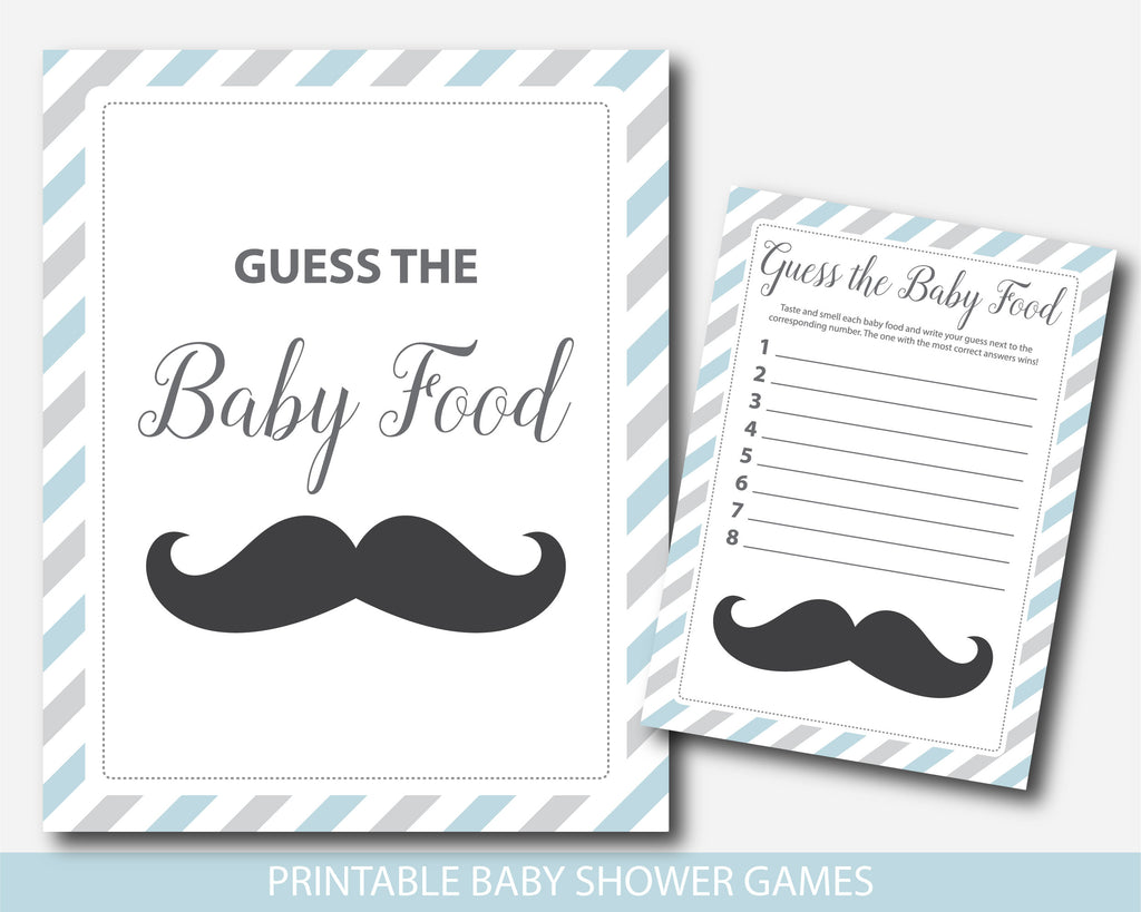 Little man baby shower food game in blue and gray, Guess the baby food, BM2-13