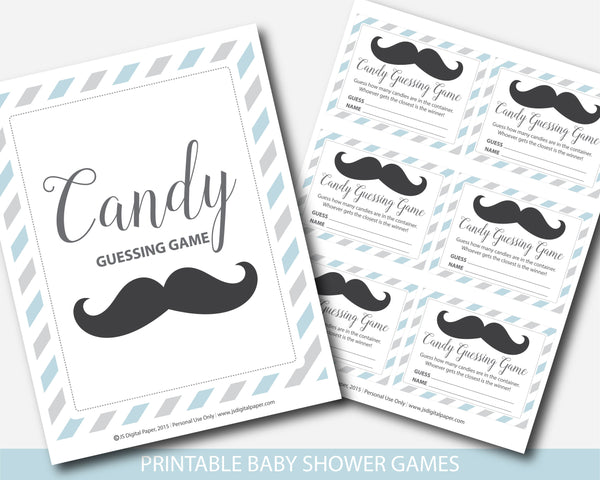 Little man candy guessing game in blue and gray, Mustache peanut guessing game, Mustache jelly bean game, BM2-16