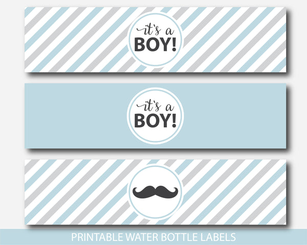 Little man water bottle labels in blue and gray, Little man baby shower drinking labels, Little man water wrap labels, BM2-18