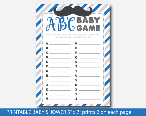 Mustache ABC baby shower game in royal blue & grey, Little man ABC mustache game, BM3-04