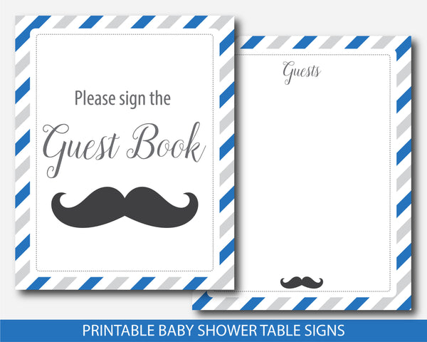 Mustache baby shower signs in royal blue & gray, Mustache decor and table signs, Mustache table signs, BM3-07