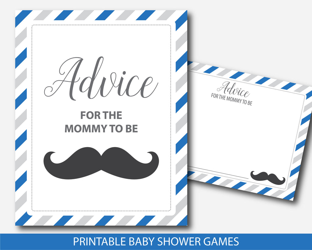 Mustache advice for the mommy to be card and sign in royal blue and gray, BM3-10