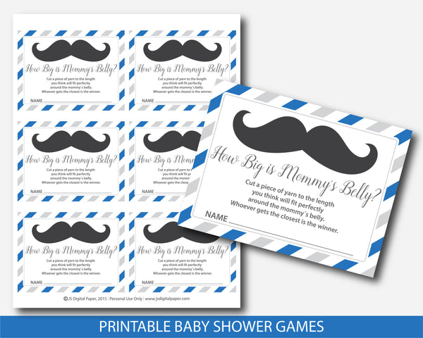 Mustache belly game, Mustache how big is mommy´s belly baby shower game in royal blue and gray, BM3-12